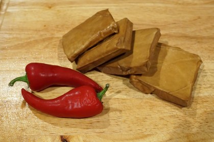 Spicy red peppers and marinated bean curd (tofu)