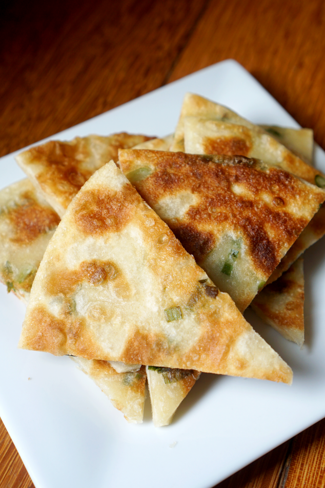 Vertical Green Onion Pancake